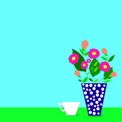 Flowers vase with coffee cup