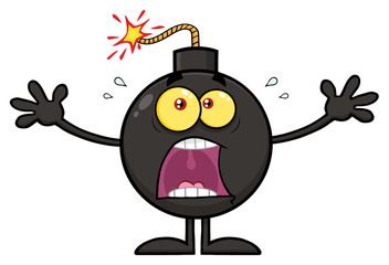 Funny Bomb Cartoon Mascot Character With A Panic Expression. Illustration Isolated On White Background