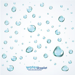 Shiny water droplets background. Vector illustration