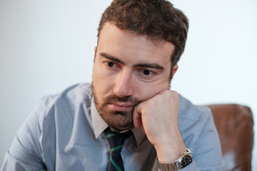 Portrait of one businessman manager worried