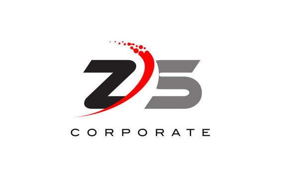 ZS Modern Letter Logo Design with Swoosh