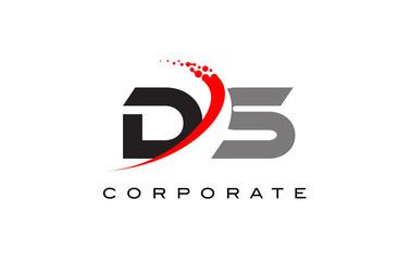 DS Modern Letter Logo Design with Swoosh