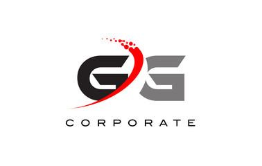 GG Modern Letter Logo Design with Swoosh