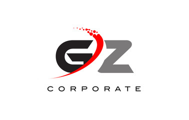 GZ Modern Letter Logo Design with Swoosh