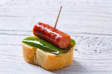 pinchos pintxos chistorra with pepper tapas