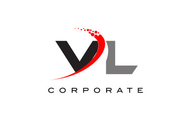 VL Modern Letter Logo Design with Swoosh