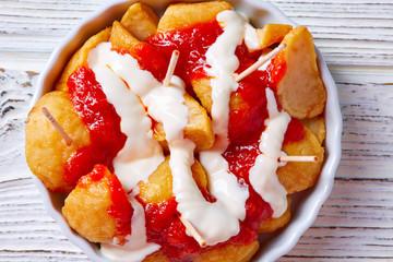 Bravas potatoes pinchos tapas from Spain