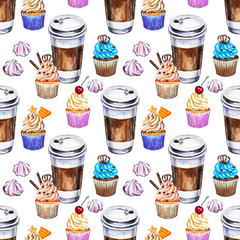 Watercolor seamless pattern with disposables cups of coffee, cupcakes and meringues. Hand painted illustration.