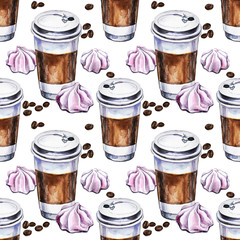 Watercolor seamless pattern with disposables cups of coffee, meringues and coffee beans. Hand painted illustration.
