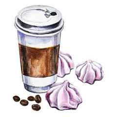 Watercolor illustration with disposable cup of coffee, meringues and coffee beans. Hand painted illustration.