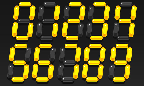 Three-dimensional numbers. Volumetric electronic yellow numbers. Vector illustration