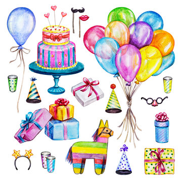 Watercolor Birthday party set. Hand drawn celebration objects: gift boxes, air balloons, cake of mastic, pinata.