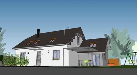 Esquisse de maison individuelle architecte
