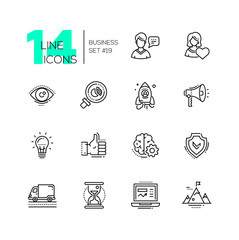 Business - modern single line icons set