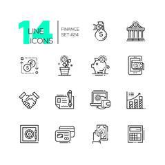 Finance - modern single line icons set