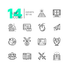 Esports - modern single line icons set