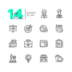 Business - monochromatic modern single line icons set