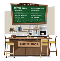 coffee bar. Flat style illustration. EPS 10 vector.