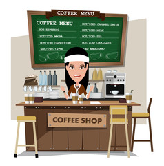 coffee bar and barista. Flat style illustration. EPS 10 vector.