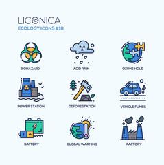 Ecology - coloured modern single line icons set