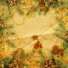 Paper winter abstract background with  fir branches