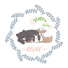 doodle set of happy holiday. cute deer, rabbit, raccon and bear sleeping in floral frames hand drawing vector illustration for kid t-shirt print, greeting and invitation card