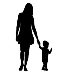 silhouette of mom walking by the hand with the child