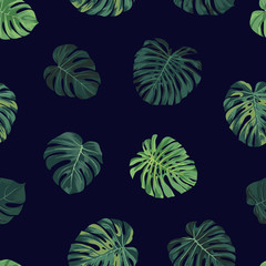 Seamless vector tropical botanical pattern with green monstera palm leaves. Exotic hawaiian fabric design.