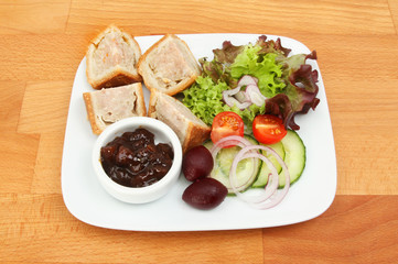 Pork pie and salad