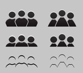 Set of different balck and white icons of men and women. Vector element for your design