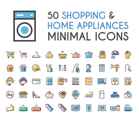 Set of 50 Minimalistic Solid Line Coloured Shopping and Home Appliances Icons . Isolated Vector Elements