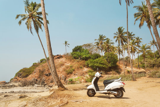 Scooter parked under the palm trees of a beautiful beach in Goa, India