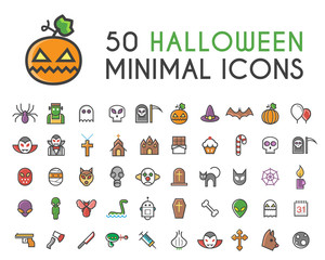 Set of 50 Minimalistic Solid Line Coloured Halloween Icons . Isolated Vector Elements