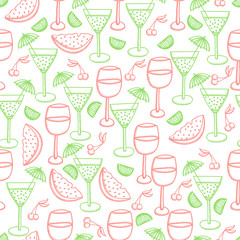 Seamless pattern with wine, mixed drink, lime, cherry and watermelon. Hand drawn cocktail vector background. Doodle style.