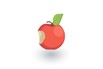 Apple with a bite isometric flat icon. 3d vector colorful illustration. Pictogram isolated on white background