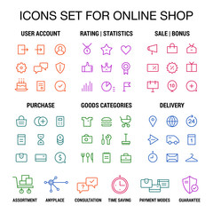 Icons set for online shop. Thin lines. Colored on white.