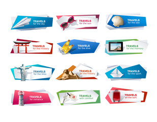 Set banners on the theme of travel