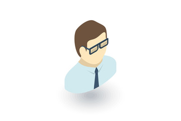 office man isometric flat icon. 3d vector colorful illustration. Pictogram isolated on white background