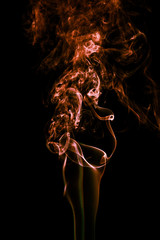 Fototapete - Abstract color smoke on black background, orange smoke background,orange ink background,orange smoke,Orange Smoke Abstract Wallpaper or Background ,fire and smoke isolated on black