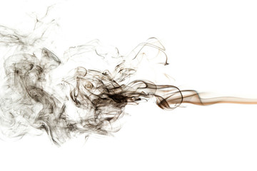 Fototapete - abstract black smoke on white background