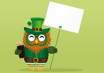 Happy owl with beer in a national costume and hat on St. Patrick's Day