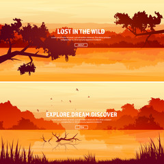 Mountains with forest and lake, river. Trees. Horizon line. Vector landscape.Panorama. Travel and adventure.Nature.Wood. Wildlife. Pine tree.