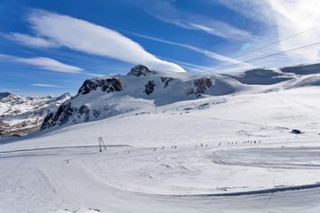 Mountain skiing - Plateau Rose, trail in Zermatt Switzerland, Italy, Valle d'Aosta, Breuil-Cervinia, Aosta Valley, Cervinia