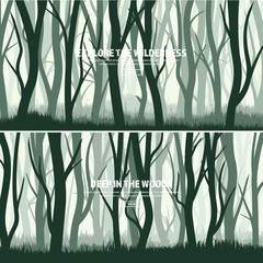 Trees set. Wild pine forest, nature background. Wood.Vector illustration.Banner. Dark green tree. Landscape.Grass,meadow.