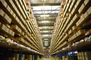Warehouse stocked with coated textile products