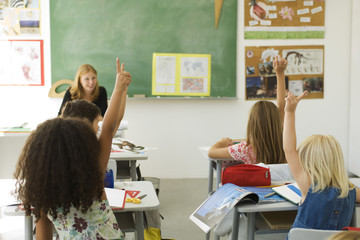 Elementary students in classroom raising hands, rear view