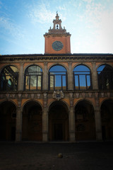 Courtyard of the Archiginnasio, historical seat of the University of Bologna, Italy