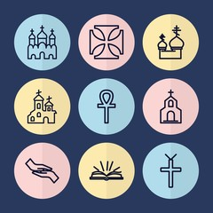Set of 9 christian outline icons