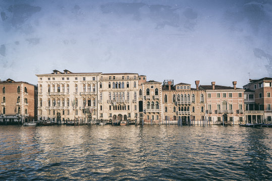Typical venetian buildings from the waterside of Grand Canal int the golden hour, Venice (Venezia), Italy, Europe, Old photo style