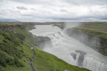 Beautiful Gullfoss waterfall in the south Iceland falling down the river